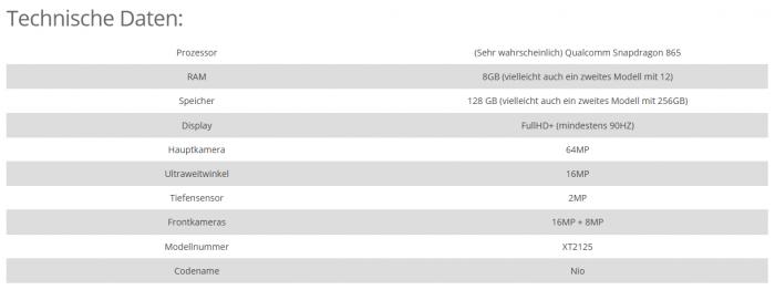 摩托罗拉2021年款新机Nio信息曝光:骁龙865+8GB内存