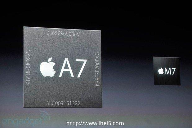 iPhone 5s搭载iOS 7,采用A7处理器,支持64-bit架构,内置M7动态感测芯片