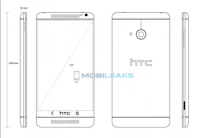 传HTC One Max将采用5.9英寸 1080p显示屏,并高通Snapdragon800处理器,主频为2.3GHz