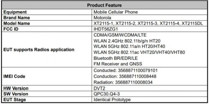 摩托罗拉XT2115规格出现在FCC认证上
