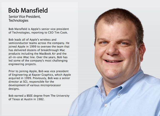 苹果公司高级副总裁 Bob Mansfield 的简历从苹果官网高管名单中消失