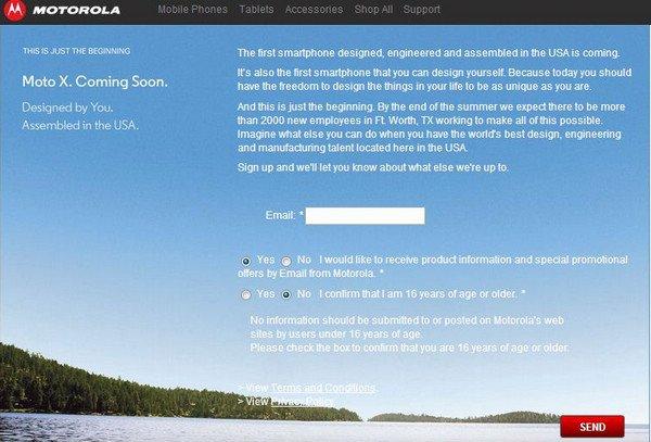 摩托罗拉美国官方网站惊现MOTO X注册页面
