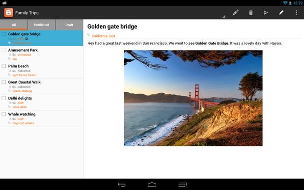 Google Blogger 推出 Android 平板电脑专用程序