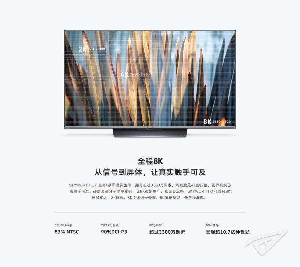 创维电视Q71系列正式发布 8K极清+电影原彩