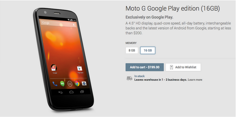 Moto G推出了Google Play Edition